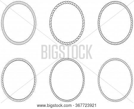 Cord Or Rope Oval Circle Set Arrangement As Vector On An Isolated White Background.