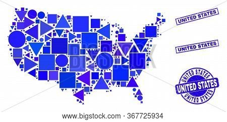 Vector Mosaic United States Map. Geographic Collage In Blue Color Hues, And Unclean Round And Rectan