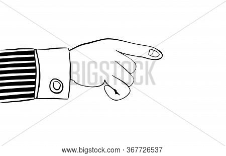 Pointing Finger. Human Hand Indicates Something Important. Suitable As A Element Of Your Website Des