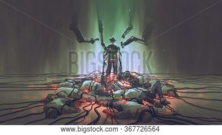 The Futuristic Human Holds The Black Cables For Charging Its Power Standing Among The Men Lying Down