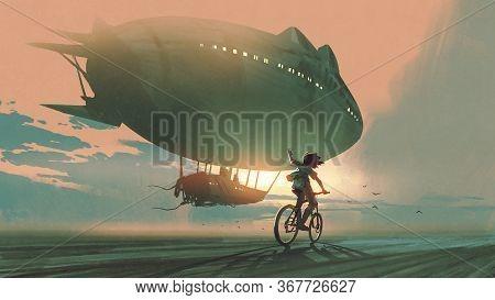 Kid Rides A Bicycle Waving Good Bye To The Airship At Sunset, Digital Art Style, Illustration Painti