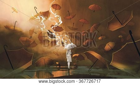 Woman With White Umbrella Standing Among Many Orange Umbrellas, Digital Art Style, Illustration Pain