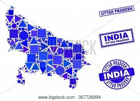 Vector Mosaic Uttar Pradesh State Map. Geographic Plan In Blue Color Hues, And Rubber Round And Rect