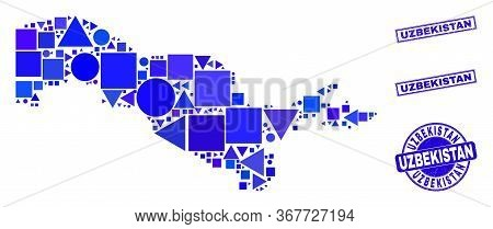 Vector Mosaic Uzbekistan Map. Geographic Plan In Blue Color Tones, And Corroded Round And Rectangle