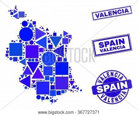 Vector Mosaic Valencia Province Map. Geographic Scheme In Blue Color Shades, And Scratched Round And