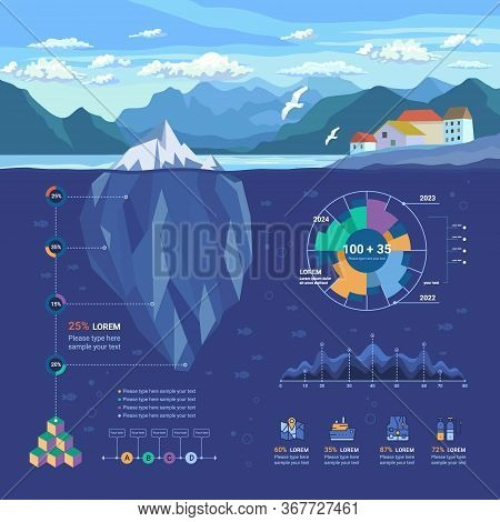 Iceberg Floating In Fjord. Infographic Underwater And Flat Elements With Polygonal Iceberg, Graphics