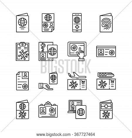 Collection Icons For Immunity To Virus Passport, Certificate Pass, Immune Certificate For Travel And