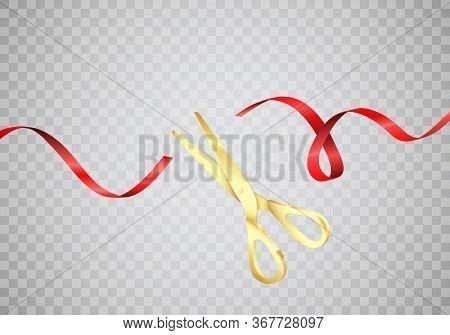 Golden Scissors Cut Red Silk Ribbon. Start Celebration. Grand Opening Ceremony. Vector Realistic Ill