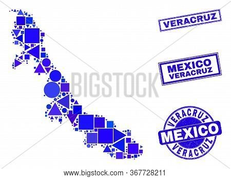 Vector Mosaic Veracruz State Map. Geographic Plan In Blue Color Tones, And Textured Round And Rectan