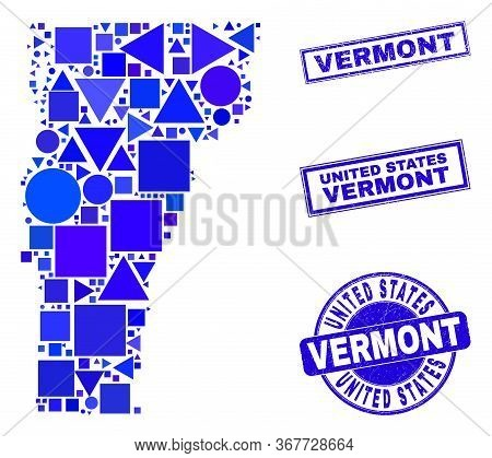 Vector Mosaic Vermont State Map. Geographic Collage In Blue Color Tones, And Unclean Round And Recta
