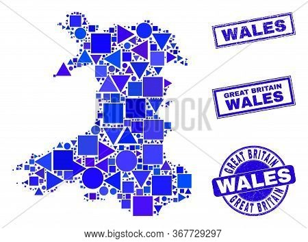 Vector Mosaic Wales Map. Geographic Scheme In Blue Color Tones, And Textured Round And Rectangle Sea