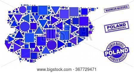 Vector Mosaic Warmian-masurian Voivodeship Map. Geographic Collage In Blue Color Tones, And Grunge R