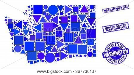 Vector Mosaic Washington State Map. Geographic Collage In Blue Color Tones, And Corroded Round And R