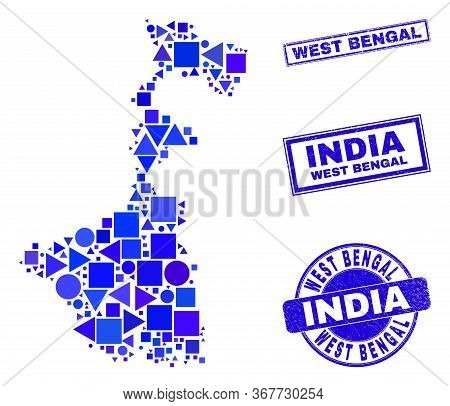 Vector Mosaic West Bengal State Map. Geographic Plan In Blue Color Hues, And Textured Round And Rect