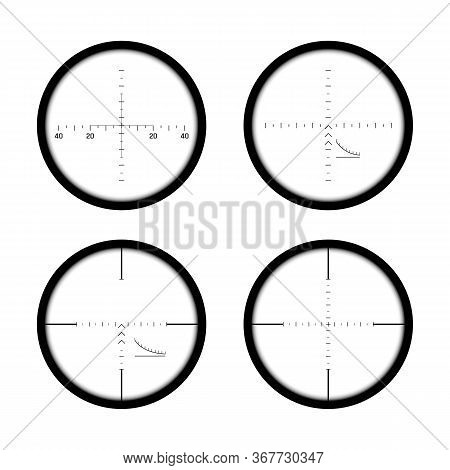 Set Of Sniper Gun Scopes. Focus On Target. Binocular With Measuring Scale. Vector Illustration