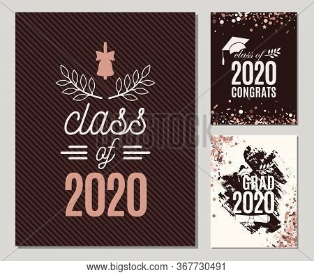 Graduation 2020 Greeting Cards Set In Rose Gold Colors. Three Vector Grad Party Invitations. Class O