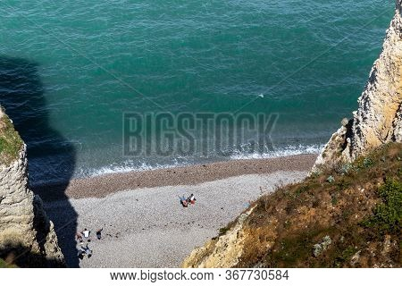 Etretat, France - September 1, 2019: This Is An Aerial View Of A Small Wild Beach At The Foot Of The