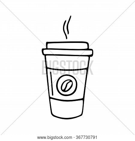 Paper Cup Of Coffee Hand-drawn. Vector Doodle Illustration Outline On A White Background