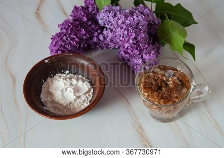 Natural Home Skin Care. Ingredients Of A Face Mask. Decoction Of Lilac Flowers (syringa Vulgaris) An