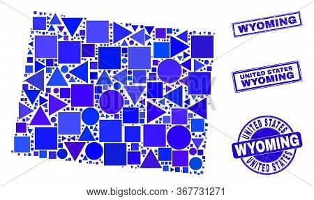 Vector Mosaic Wyoming State Map. Geographic Scheme In Blue Color Tones, And Corroded Round And Recta
