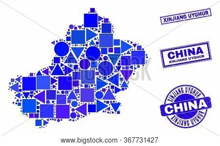 Vector Mosaic Xinjiang Uyghur Region Map. Geographic Scheme In Blue Color Shades, And Unclean Round