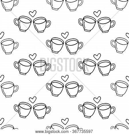 Two Large Mug Of Coffee Or Cocoa Hand-drawn For Lovers. Vector Seamless Doodle Pattern On White Back