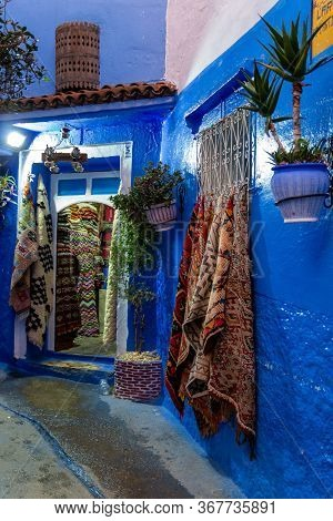 Chefchaouen, Morocco - 20 October, 2019: Moroccan Oriental Handmade Carpets In Gift Shop In Chefchao