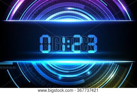 Abstract Background Of Blue Hud Futuristic Element Loading Digital Number