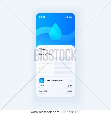 Water Taxes Smartphone Interface Vector Template. Mobile App Page White Design Layout. Money Online