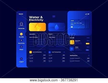 Water And Electricity Cost Tablet Interface Vector Template. Mobile App Page Night Mode Design Layou