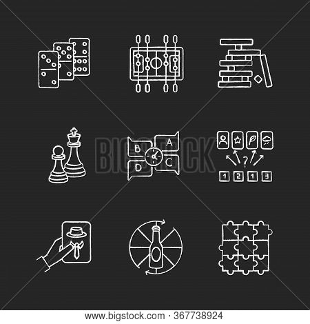Party Games Chalk White Icons Set On Black Background. Recreation Activities, Fun Pastime. Various C