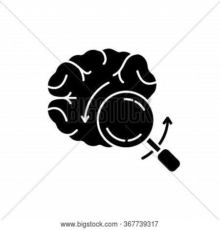 Briefing Black Glyph Icon. Analytical Brain. Investigate For Smart Solution. Knowledge And Intellige