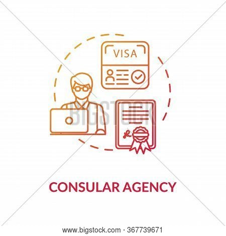 Consular Agency Concept Icon. Tourist Visa Application. Diplomatic Mission Idea Thin Line Illustrati