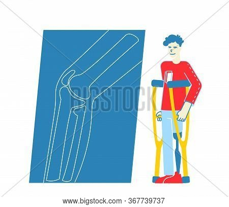 Invalid Handicapped Man Character Stand On Crutches With Leg Prosthesis Visiting Orthopedy Clinic Or