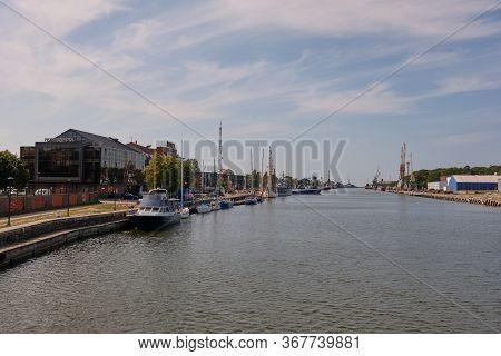 Liepaja,latvia-august 20, 2019:view From River Canal Bridge To Liepaja Harbor, Liepaja, Latvia, Euro