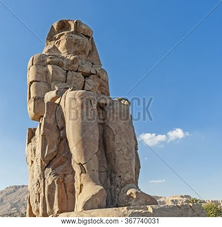 Large Statue Of Pharaoh Amenhotep Iii At Colossus Of Memnon In Luxor Egypt