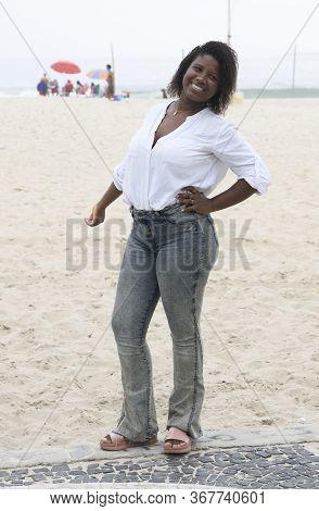 Cute Brazilian Girl On The Beach Of Copacabana In Rio De Janeiro, March 2020