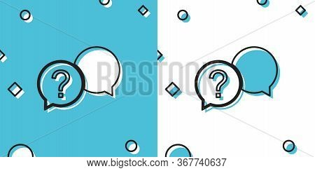 Black Chat Question Icon Isolated On Blue And White Background. Help Speech Bubble Symbol. Faq Sign.