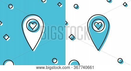 Black Map Pointer With Heart Icon Isolated On Blue And White Background. Valentines Day. Love Locati