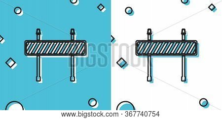 Black Road Barrier Icon Isolated On Blue And White Background. Fence Of Building Or Repair Works. Hu