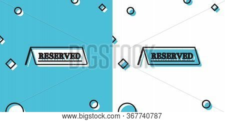 Black Reserved Icon Isolated On Blue And White Background. Random Dynamic Shapes. Vector Illustratio