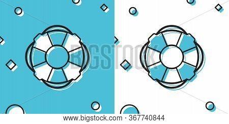 Black Lifebuoy Icon Isolated On Blue And White Background. Lifebelt Symbol. Random Dynamic Shapes. V