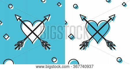 Black Heart With Arrow Icon Isolated On Blue And White Background. Happy Valentines Day. Cupid Dart