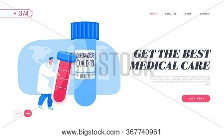 Coronavirus Infection Test Landing Page Template. Doctor Character Carry Huge Flask With Positive Co