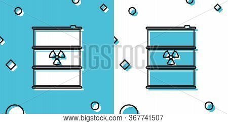 Black Radioactive Waste In Barrel Icon On Blue And White Background. Radioactive Garbage Emissions,