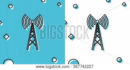 Black Antenna Icon Isolated On Blue And White Background. Radio Antenna Wireless. Technology And Net