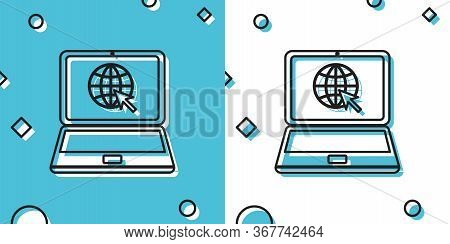 Black Website On Laptop Screen Icon Isolated On Blue And White Background. Laptop With Globe And Cur