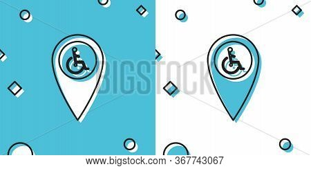 Black Disabled Handicap In Map Pointer Icon Isolated On Blue And White Background. Invalid Symbol. W