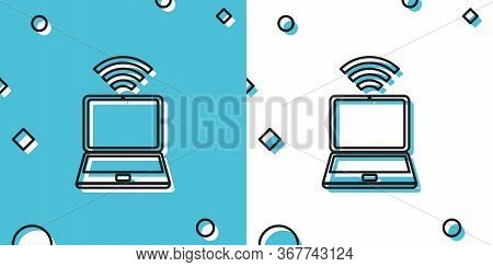 Black Laptop And Free Wi-fi Wireless Connection Icon Isolated On Blue And White Background. Wireless