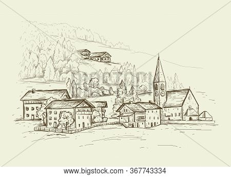 Rural Landscape.  Italy, Europe. Santa Maddalena. Sketch Vector Illustration With A Church, Village